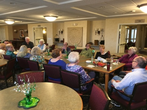Every Wednesday a large group of Residents go out and get lunch and have a gathering in the Gramercy Room.